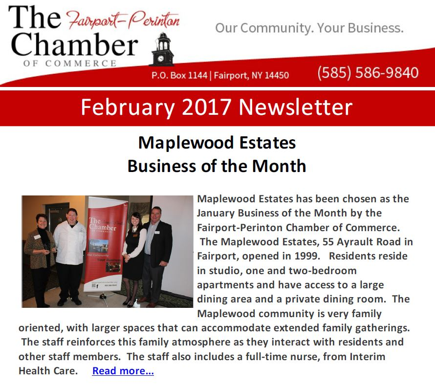 February 2017 newsletter fairport perinton chamber of commerce maplewood estates business reheart Gallery